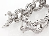White Cubic Zirconia Rhodium Over Sterling Slver Bracelet 25.20ctw
