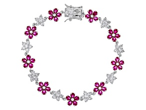 Lab Created Ruby & White Cubic Zirconia Rhodium Over Silver Bracelet 15.46ctw