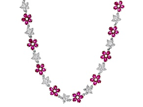 Lab Created Ruby And White Cubic Zirconia Rhodium Over Silver Necklace 37.25ctw