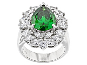 Green And White Cubic Zirconia Rhodium Over Sterling Silver Ring 9.00ctw