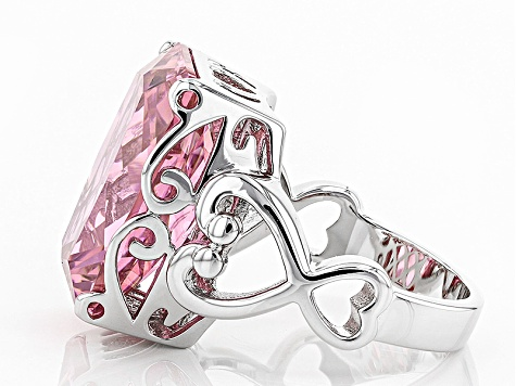 Pink Cubic Zirconia Rhodium Over Sterling Silver Ring 20.00ctw