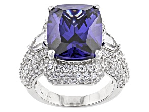 Blue And White Cubic Zirconia Rhodium Over Sterling Silver Ring 19.00ctw