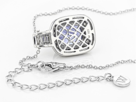 Blue And White Cubic Zirconia Rhodium Over Sterling Silver Pendant With Chain 9.46ctw