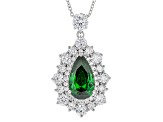 Green And White Cubic Zirconia Rhodium Over Sterling Silver Pendant With Chain 11.00ctw