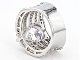 White Cubic Zirconia Rhodium Over Sterling Silver Ring 10.63ctw
