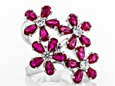 Lab Created Ruby And White Cubic Zirconia Rhodium Over Sterling Silver Ring 8.43ctw