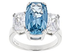 Lab Created Blue Spinel & White Cubic Zirconia Rhodium Over Silver Ring 14.22ctw