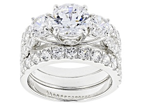 White Cubic Zirconia Rhodium Over Sterling Silver Ring With Bands 6.05ctw