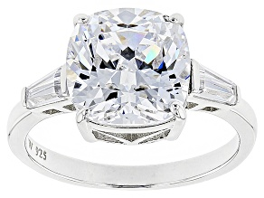 White Cubic Zirconia Scintillant Cut Rhodium Over Sterling Silver Ring 7.00ctw