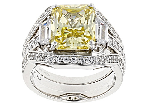 Yellow & White Cubic Zirconia Rhodium Over Silver Ring With Bands 10.54ctw
