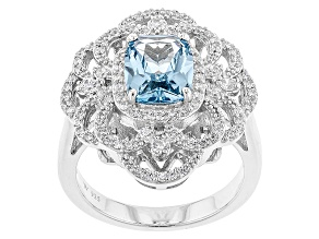 Lab Created Spinel & White Cubic Zirconia Rhodium Over Silver Ring 4.70ctw