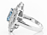 Lab Created Blue Spinel & White Cubic Zirconia Rhodium Over Silver Ring 4.70ctw