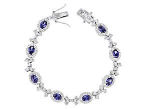Blue And White Cubic Zirconia Rhodium Over Sterling Silver Bracelet 17.80ctw