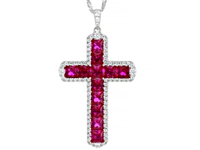 Lab Created Ruby & White Cubic Zirconia Rhodium Over Silver Pendant 7.58ctw