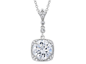 White Cubic Zirconia Rhodium Over Sterling Silver Pendant With Chain 5.01ctw