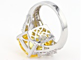 Yellow & White Cubic Zirconia Rhodium Over Sterling Silver Ring 19.31ctw