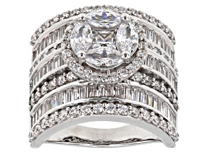 White Cubic Zirconia Rhodium Over Sterling Silver Ring 6.76ctw
