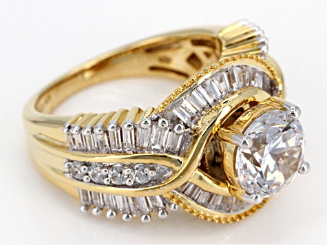 White Cubic Zirconia 18k Yellow Gold Over Sterling Silver Ring With Bands 8.84ctw