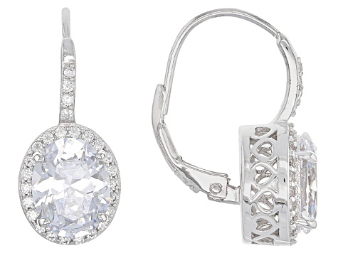 White Cubic Zirconia Rhodium Over Sterling Silver Earrings 7.14ctw