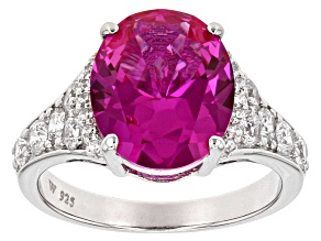 Lab Created Pink Sapphire & White Cubic Zirconia Rhodium Over Silver Ring 5.90ctw
