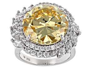 Yellow & White Cubic Zirconia Rhodium Over Sterling Silver Ring 18.78ctw