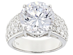 White Cubic Zirconia Rhodium Over Sterling Silver Ring 11.50ctw