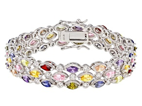 Multicolor Cubic Zirocnia Rhodium Over Sterling Silver Bracelet 22.07ctw