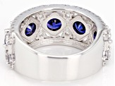 Blue And White Cubic Zirconia Silver Ring 6.11CTW