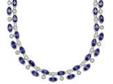 Blue & White Cubic Zirconia Rhodium Over Silver Necklace 35.46ctw