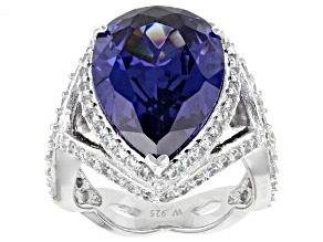 Blue and White Cubic Zirconia Rhodium Over Sterling Silver Ring 17.82ctw
