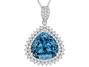 Synthetic Blue Spinel & White Cubic Zirconia Rhodium Over Silver Center Design Pendant With Chain