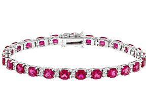 Lab Created Ruby & White Cubic Zirconia Rhodium Over Silver Bracelet 20.33ctw