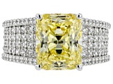 Yellow & White Cubic Zirconia Rhodium Over Sterling Silver Ring 10.46CTW