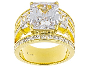 White Cubic Zirconia 18k Yellow Gold Over Sterling Silver Ring 14.23ctw