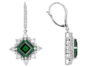 Green & White Cubic Zirconia Rhodium Over Sterling Silver Earrings 13.48ctw