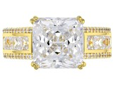 White Cubic Zirconia Scintillant Cut 18k Yellow Gold Over Sterling Silver Ring 10.55ctw