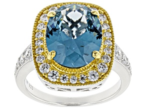 Lab Created Blue Spinel & White Cubic Zirconia Rhodium & 18k Yellow Gold Over Silver Ring 6.03ctw.