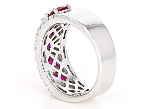 Lab Created Ruby & White Cubic Zirconia Rhodium Over Sterling Silver Ring 4.50ctw