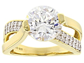 White Cubic Zirconia 18k Yellow Gold Over Sterling Silver Ring 6.77ctw