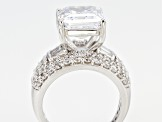 White Cubic Zirconia Rhodium Over Sterling Silver Ring 12.08ctw