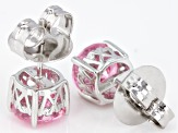 Pink Cubic Zirconia Rhodium Over Sterling Silver Stud Earrings 6.32ctw