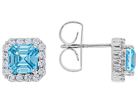 Blue & White Cubic Zirconia Rhodium Over Sterling Silver Center Design Earrings 3.94ctw