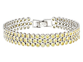 Yellow Cubic Zirconia Rhodium Over Sterling Silver Bracelet 14.85CTW