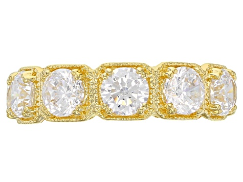 White Cubic Zirconia 18K Yellow Gold Over Sterling Silver Band Ring 8.69ctw