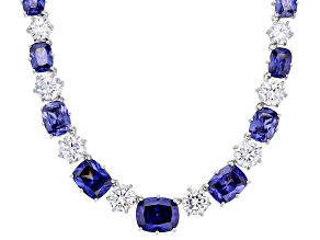 Blue & White Cubic Zirconia Rhodium Over Sterling Silver Necklace 114.08ctw