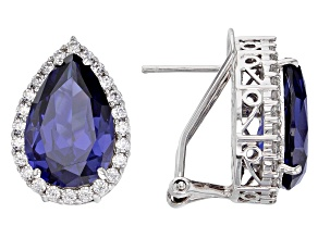 Blue & White Cubic Zirconia Rhodium Over Sterling Silver Center Design Earrings 18.58ctw