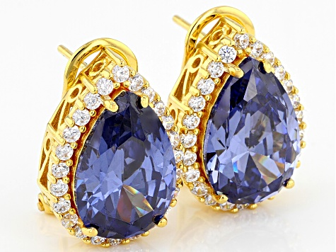 Blue & White Cubic Zirconia 18k Yellow Gold Over Sterling Silver Center Design Earrings 18.58ctw