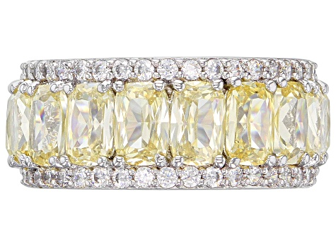 Yellow & White Cubic Zirconia Rhodium Over Sterling Silver Band Ring 16.69ctw