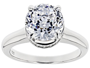 White Cubic Zirconia Rhodium Over Sterling Silver Solitaire Ring 4.97ctw