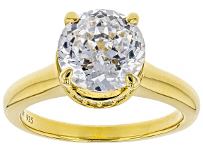 White Cubic Zirconia 18k Yellow Gold Over Sterling Silver Solitaire Ring 4.97ctw